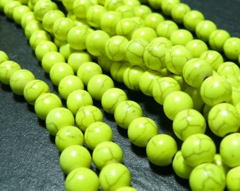 Primer 10 yellow Howlite beads 6mm 2L 1808 ref