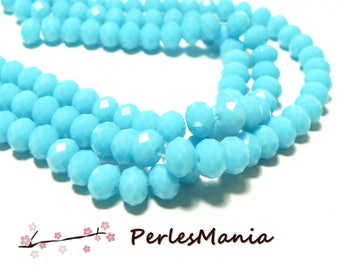 20 rondelle 6 by 8mm faceted glass turquoise DIY 2J1760