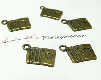 4pcs 2D1434 playing card pendant bronze