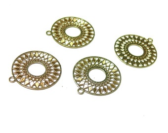 2 prints worked B4234 26mm gold round filigree pendant