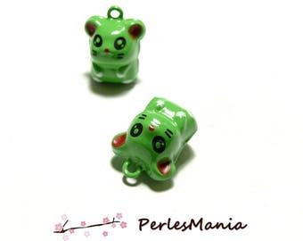 Set 2 pieces figurine bells little monster green H 3041