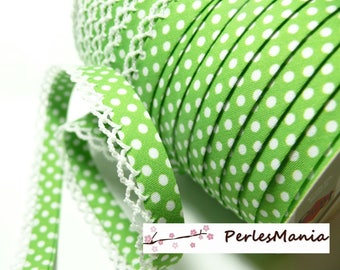 50cm Ribbon through lace polka dot Green Apple and white 12mm re 71486 color 56
