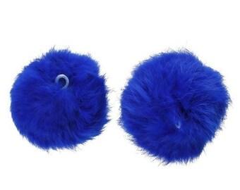 1 Pompom ball blue Angora electric 80mm (S1180832)