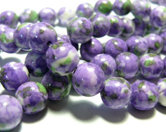 Beads for jewelry: purple green tinted stones 8mm 10 beads