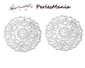 PRINTS 20 platinum silver round Mandala S69776 stainless steel