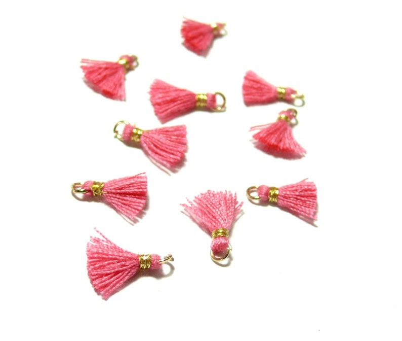 PAX 10 MINI tassels passementiere charm with gold wire and 10mm Rose Intense ref 160721134006 ring