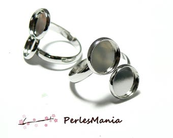 Cabochon S1180164 DOUBLE ring 12mm bright silver colored metal stand