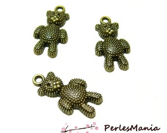 Crafting supplies: 10 girly 2A 8905 Bronze bear charms