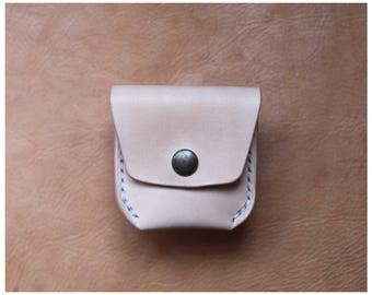 Leather coin pouch, coin wallet