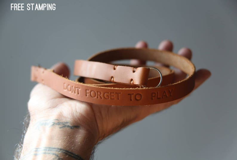 Leather camera strap personalised for free
