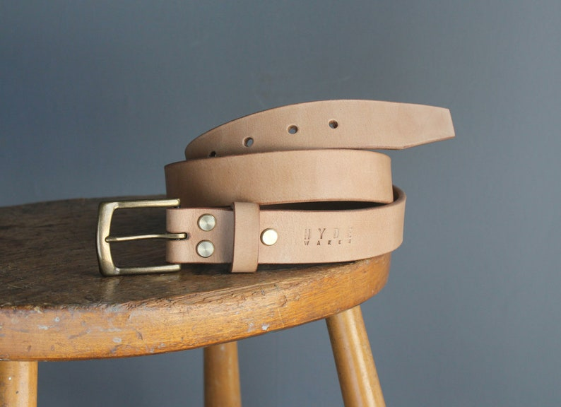 4d95ab0d25a Handmade leather belt, raw natural shade of vegetable tanned leather