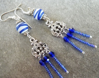 Earrings electric blue Gypsy, seed beads and and faceted