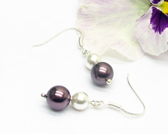 Pearls and Silver earrings for wedding or evening swarovski crystal, earrings swarovski earring, burgundy
