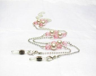 Chaine de lunettes perlée, cordon lunettes fantaisie, perles swarovski,  chaine bille argentée, bijou pour lunettes, cadeau mamie, unique 48d334f2d6a8