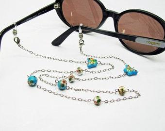 2abadc0ab1 Chaine de lunettes perlée, cordon lunettes fantaisie, perles cloisonnées  chinoises, cadeau mamie, cadeau maman, unique