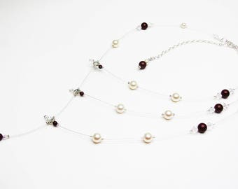 Wedding necklace asymmetrical, measure, plunging necklace, swarovski pearls, customizable bridal accessory