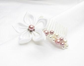 Flower wedding comb, wedding bun picks, bridal head jewelry, pearly swarovski pearls, satin flower, customizable, handmade