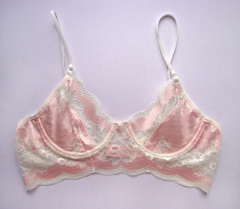 258656432bb03 Pink bra Pink bralette Floral bra White bra Wire bra Sheer bra
