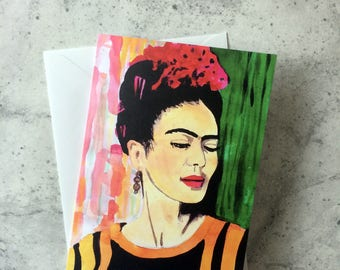 Frida Kahlo inspired Illustrated Birthday Friendship blank Card