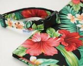 Dog collar adjustable quot TAHAA quot - Polynesian fabric - hibiscus flower, tropical, exotic Summer dog collar