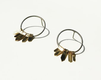 Earrings Darts in oxidized silver and vermeil