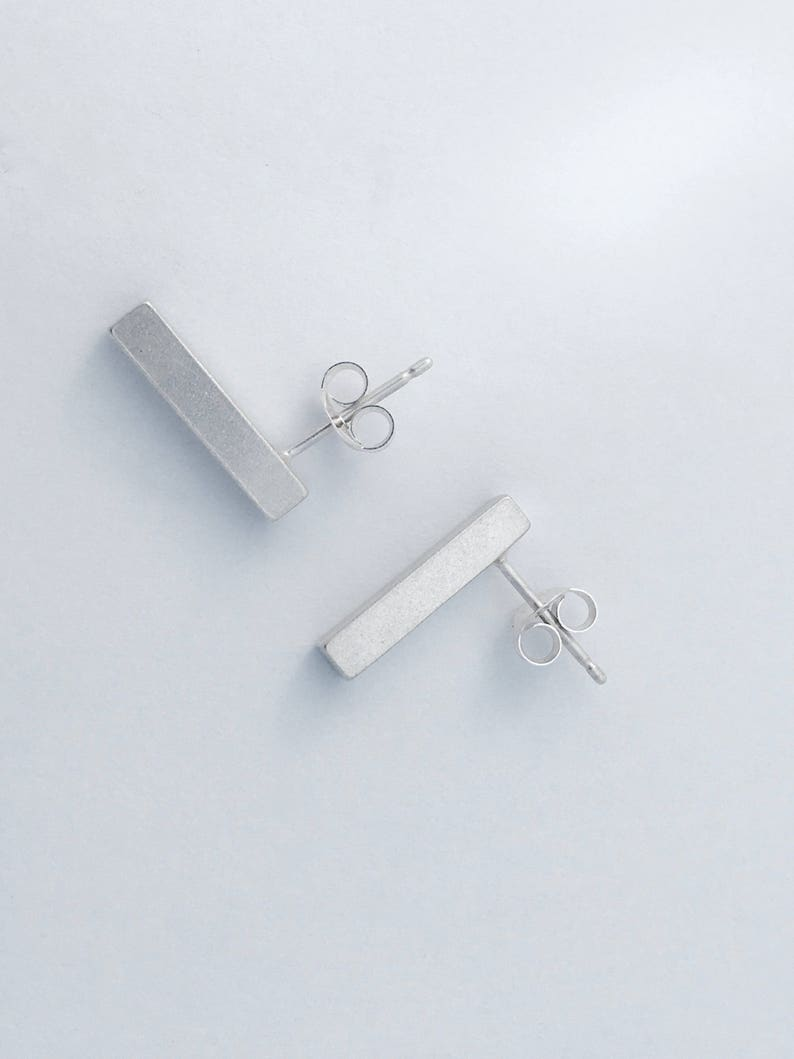 brushed silver finish simple contemporary sleek minimal urban Sterling Silver Solid Shard Bar Earrings modern