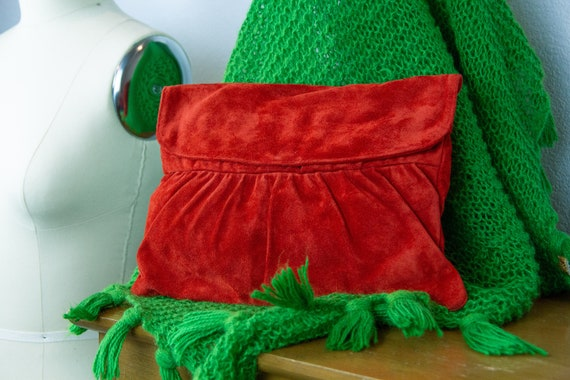 Vintage Suede Clutch Purse / 60s 70s Suede Envelop