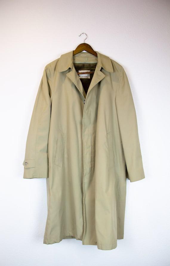 Lined Trench Rain Coat / Vintage Unisex Trench Coa
