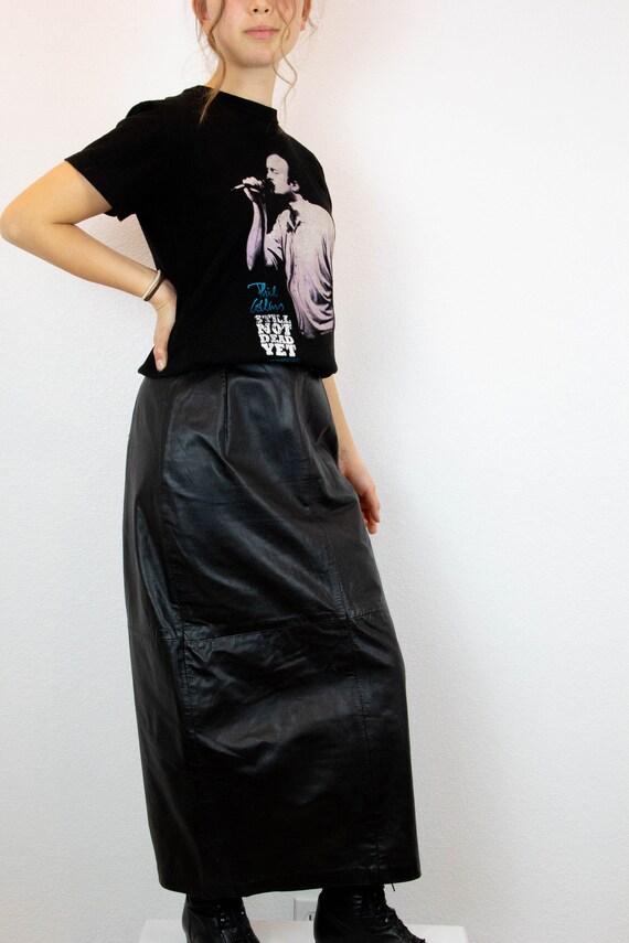 Vintage Black Leather High Waist Pencil Skirt / 90