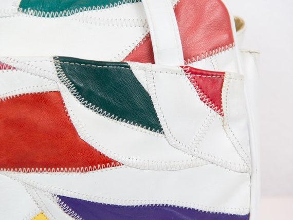 80s Vintage Leather Patchwork Purse / Leather Pat… - image 5