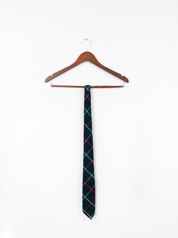 Vintage Harrods Wool Tartan Tie / Vintage Green Wo