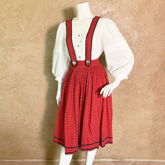VTG 40s RARE Lanz 2Pc Dirndl Skirt Dress Set XS