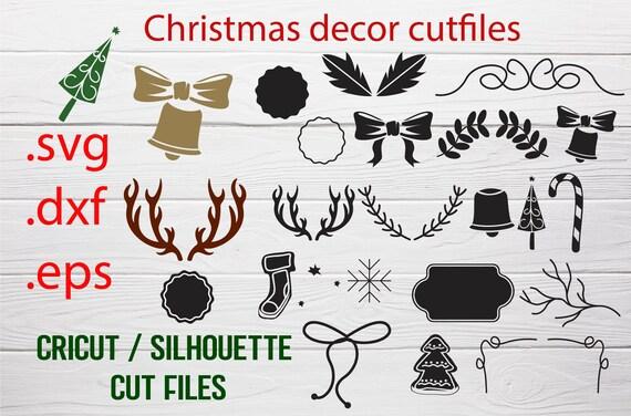 Christmas decor cut file, Christmas svg dxf eps, Christmas deer silhouette outline, Silhouette cameo, Christmas ball svg, Christmas clipart
