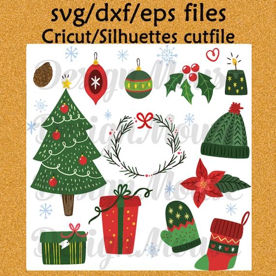 Christmas SVG file Cricut file cutfile Silhuettes file svg dxf eps files Cutting file Christmas svg Christmas elements ornaments tree wreath