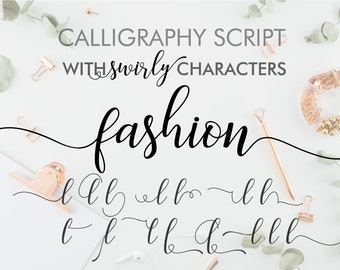 Fashion Digital long cursive font, Swirly font, Cricut font, Fonts Download, Font Digital, Font Script, Font Wedding, tails font, Procreate