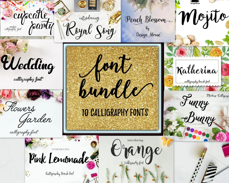 Font fonts swirly font Bundle Calligraphy Font Cricut font   Etsy