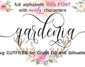 Cricut Silhouette Cameo Digital Full Alphabet SVG Font files swirly swashes Instant Download Script  commercial clean cutting digital file