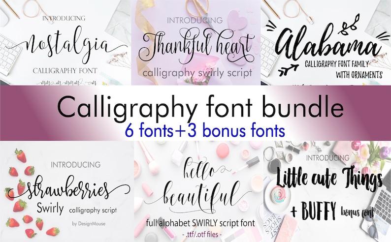 Font Bundle Fonts Fancy Fonts Swirly Fonts Digital Font image 0
