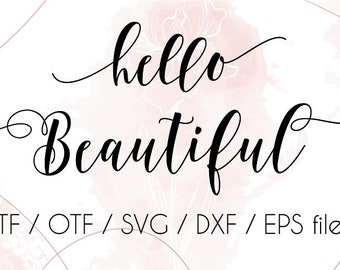 Hello Beautiful cursive swirly font, font with tails digital download, cricut font, wedding invitation font, instant download swash alphabet