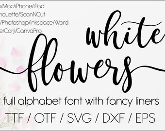 White flowers digital swirly font with tails, download designer calligraphy font, svg font Procreate font