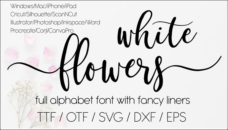 White flowers digital swirly font with tails download image 1