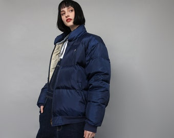 8e5293dc2d4a4 Vintage 90 s Polo Ralph Lauren Oversized Puffer Puffa Jacket Navy Blue  Unisex Warm Down Padded Jacket