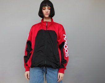 c6d4e5b92b82 Vintage 90 s adidas Oversize Sports Jacket Tracksuit Top Unisex Black Red  Spellout