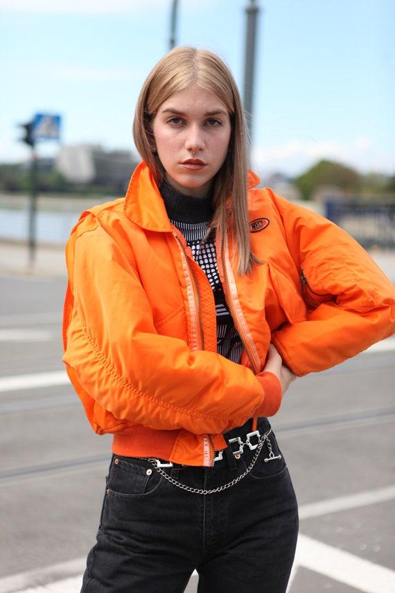 Y2K Rave Techno Bomber Jacket in Neon Orange - image 5