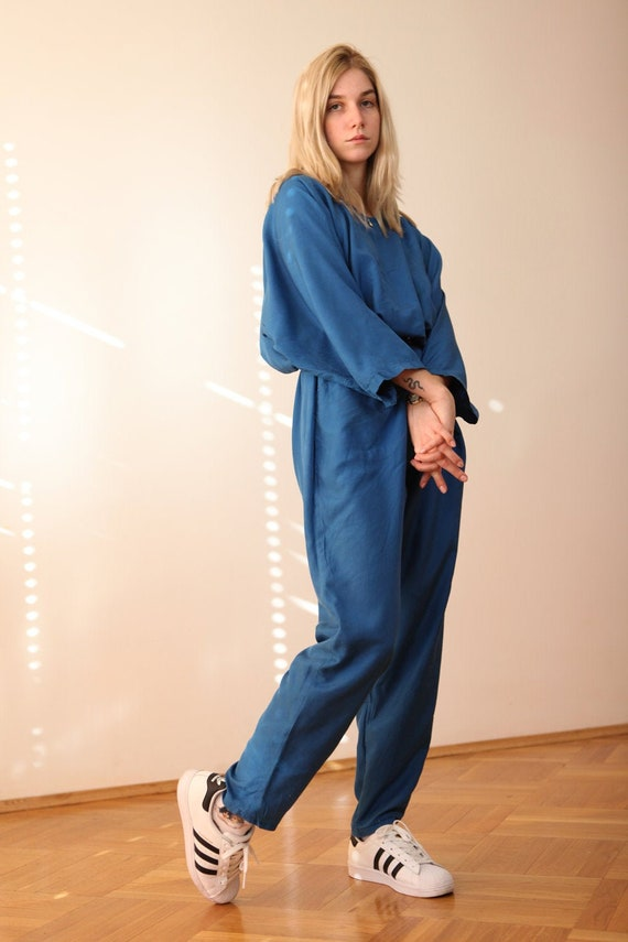 Vintage 80's Oversized Silk Jumpsuit overall in sk