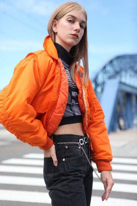 Y2K Rave Techno Bomber Jacket in Neon Orange - image 3