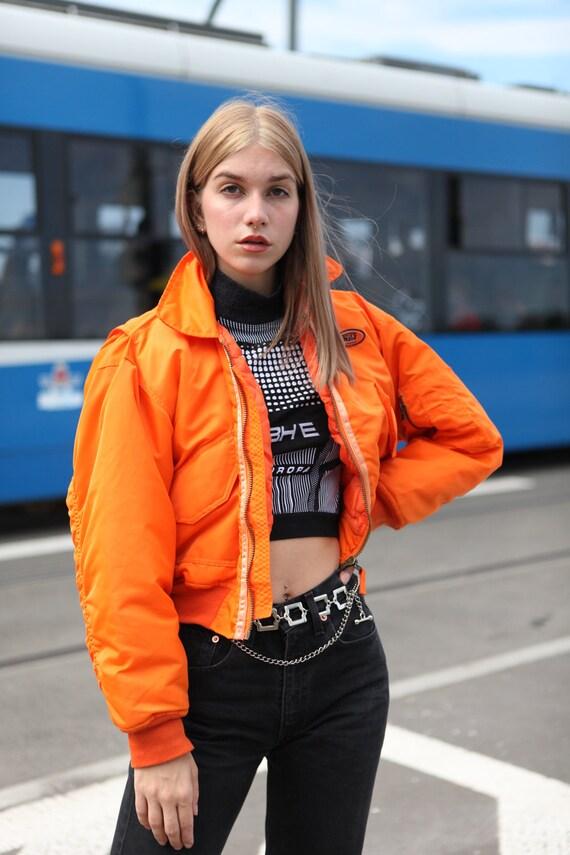 Y2K Rave Techno Bomber Jacket in Neon Orange - image 6