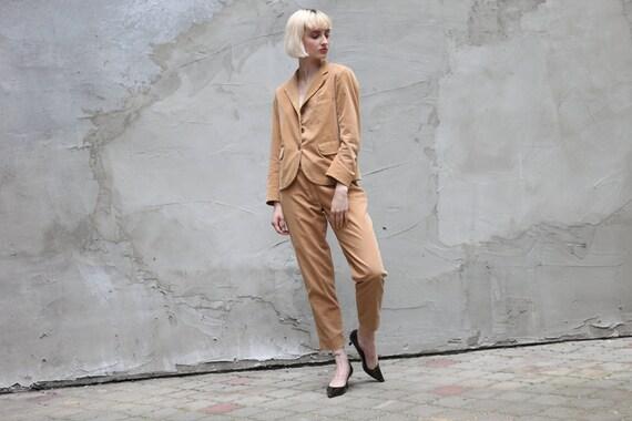 Vintage 90's Jil Sander Corduroy Suit Set in Beige