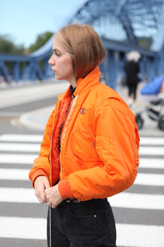 Y2K Rave Techno Bomber Jacket in Neon Orange - image 2