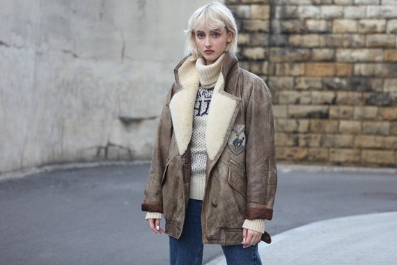 Vintage 90's Aviator Shearling Leather Jacket in B